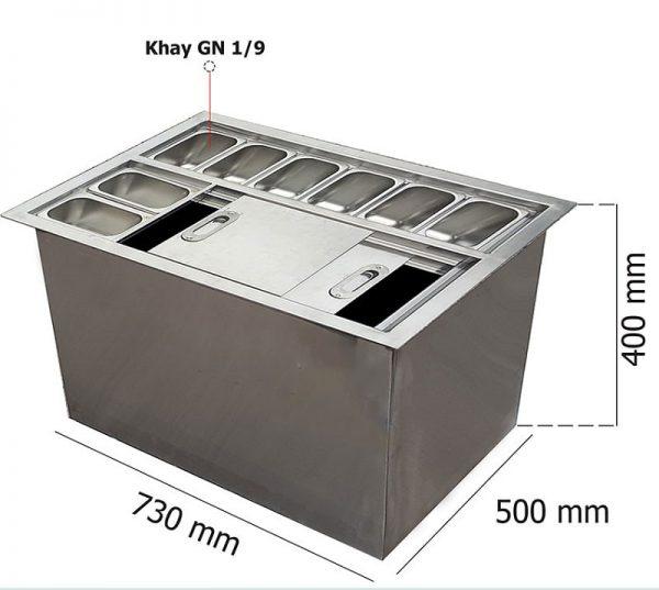 thùng đá inox âm bàn có khay topping TDIAB01
