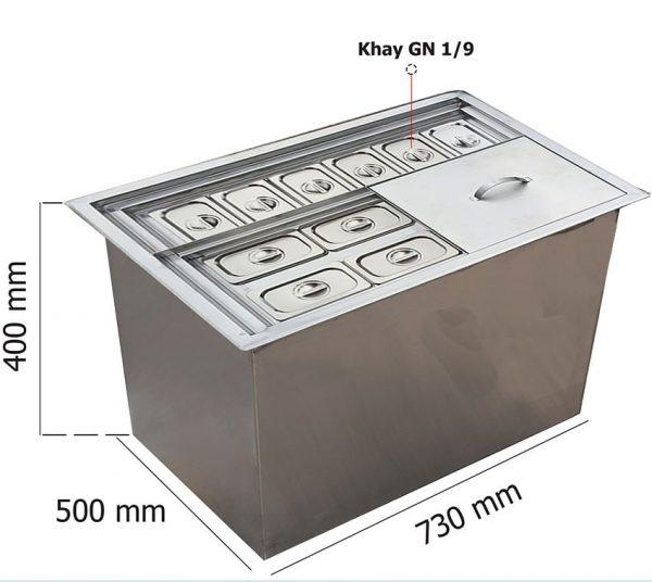 thùng đá inox âm bàn có khay topping tdiab05