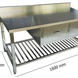 bàn bếp inox có 2 hộc tủ