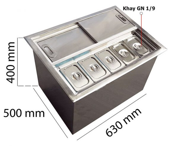 thùng đá inox âm bàn có khay topping TDIAB18